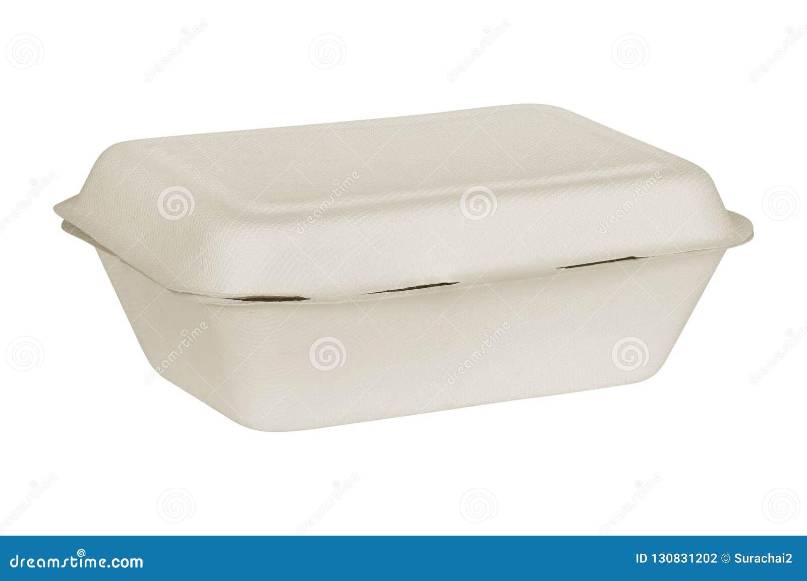在白色背景隔绝的自然植物纤维食物箱子