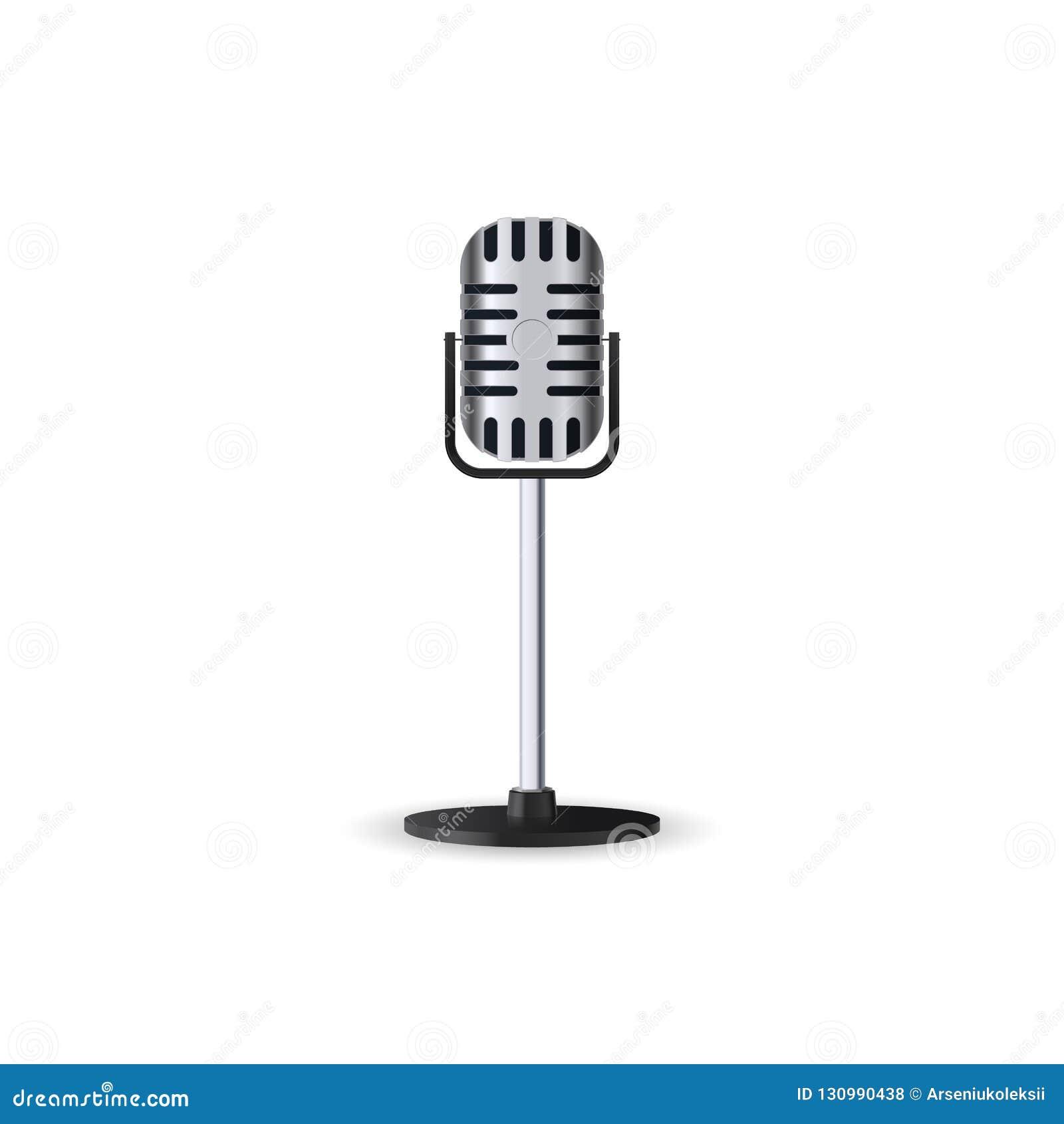 在白色背景隔绝的葡萄酒银色立体声演播室话筒 在姿态的减速火箭的金属mic