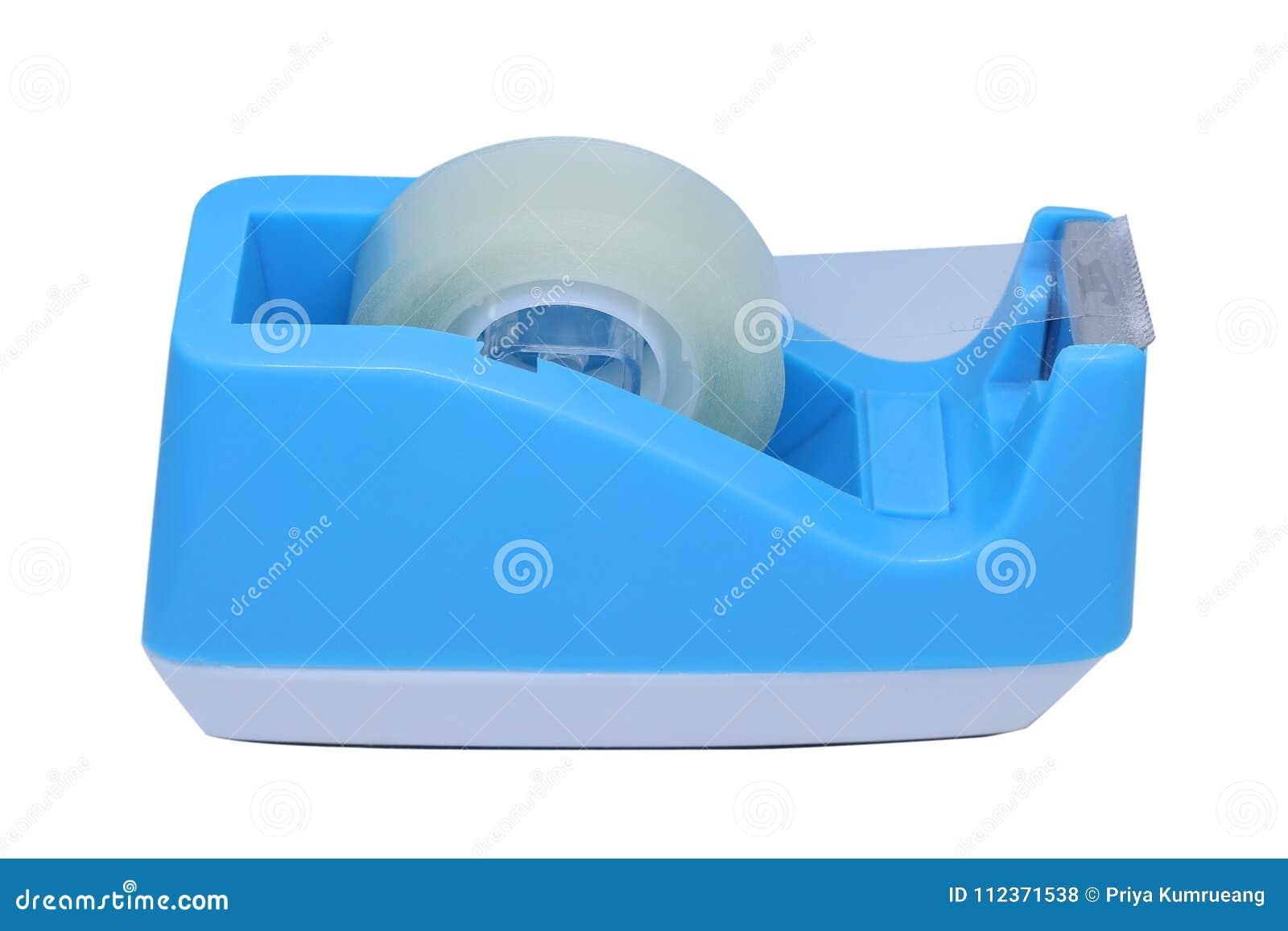 在白色背景隔绝的蓝色塑料磁带分配器