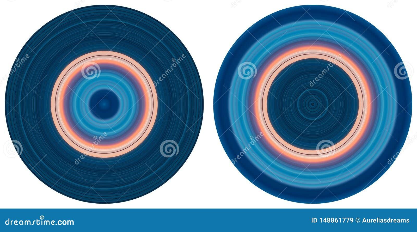 在白色背景隔绝的设置2个明亮的抽象五颜六色的圈子 圆线、辐形镶边纹理在桃红色和蓝色t