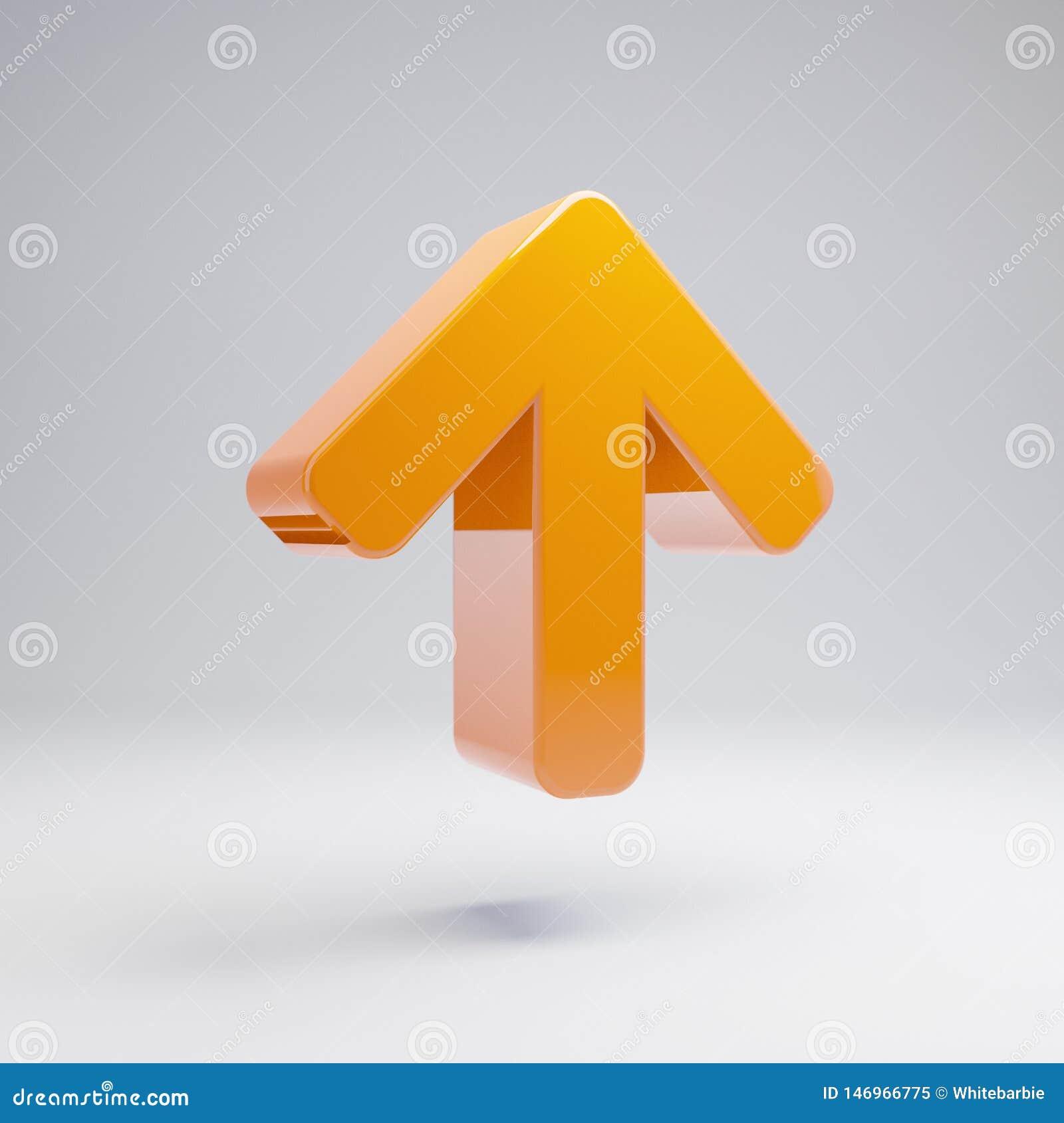 在白色背景隔绝的象的容量光滑的热的橙色箭头