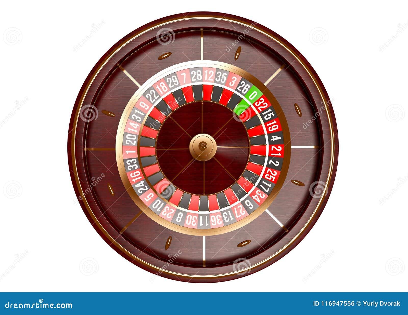 在白色背景隔绝的赌博娱乐场轮盘赌的赌轮顶视图 截去容易的编辑文件例证的3d包括了路径翻译