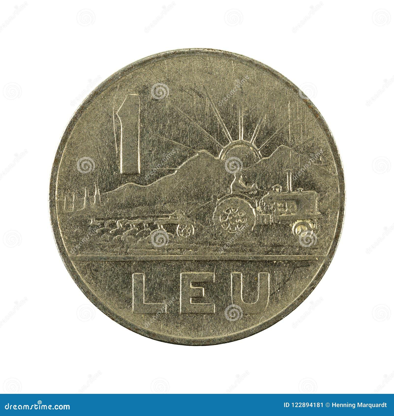 在白色背景隔绝的1罗马尼亚列伊硬币1963正面