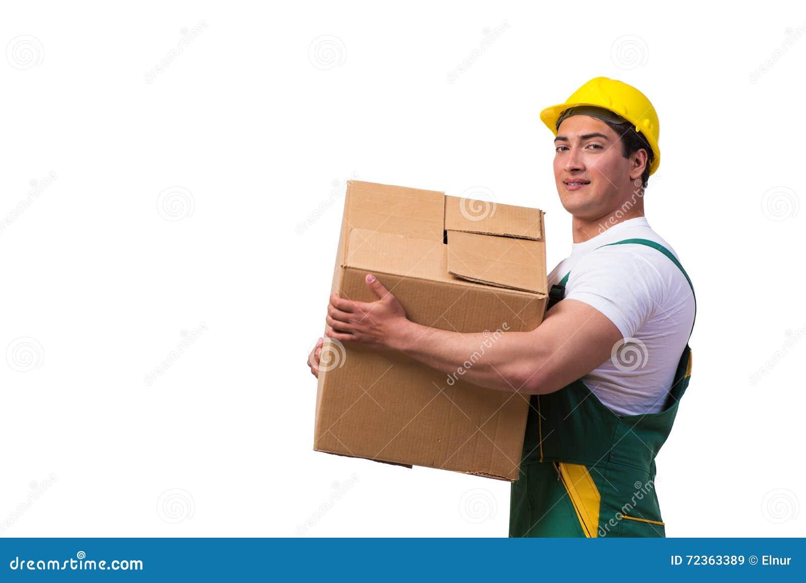 在白色背景隔绝的人移动的箱子