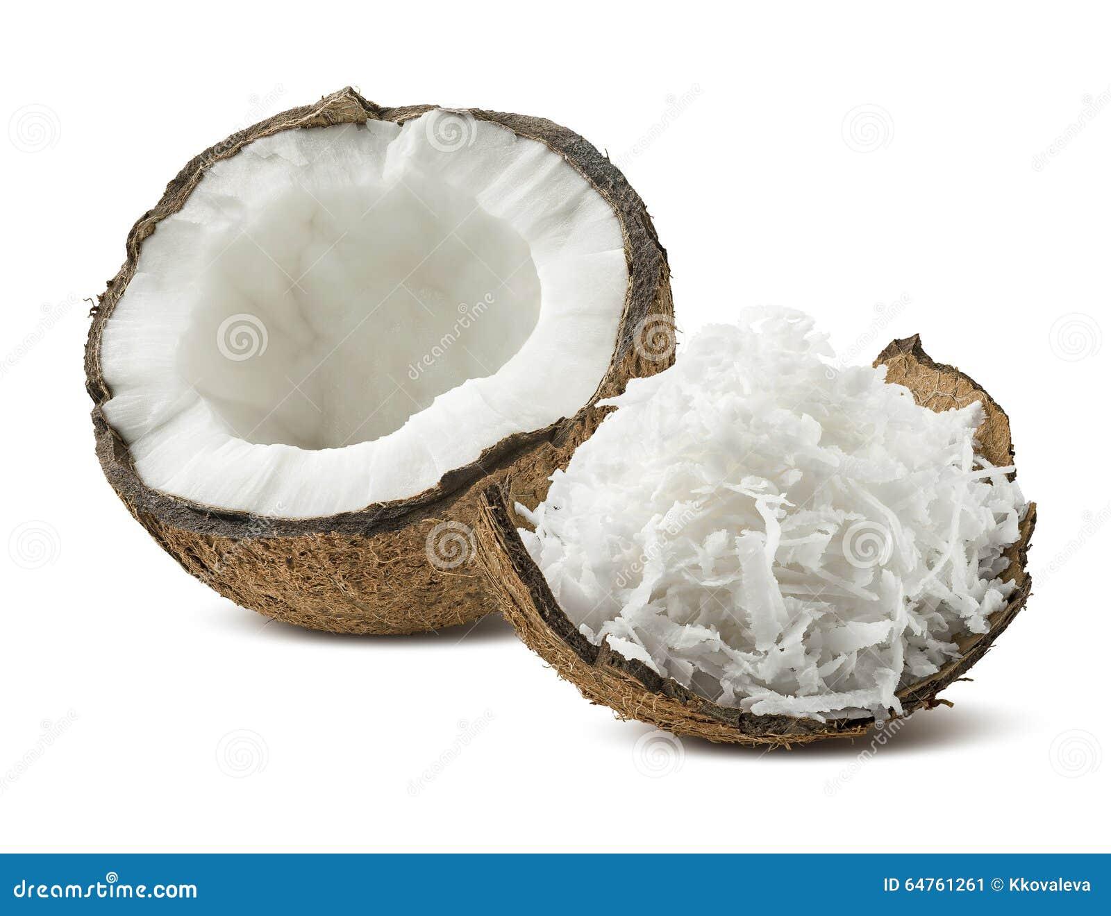 在白色背景隔绝的新近地被磨碎的椰子壳一半