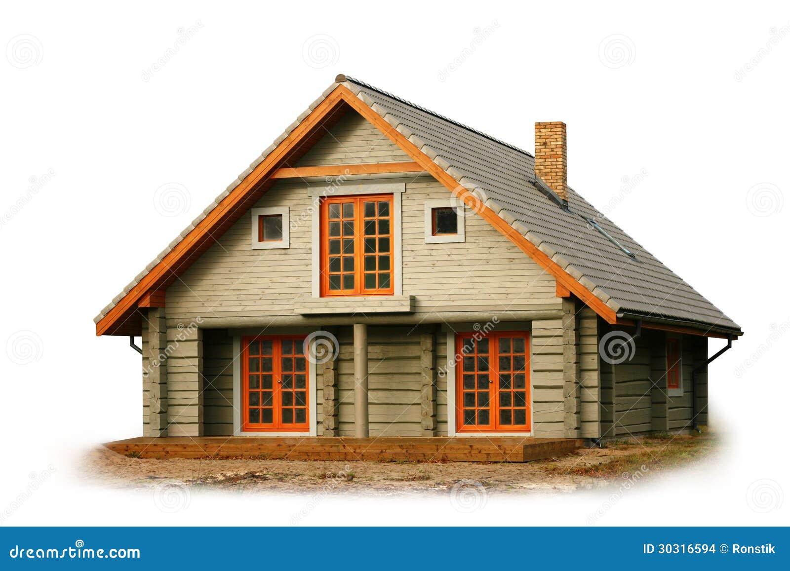 在白色背景隔绝的木房子.