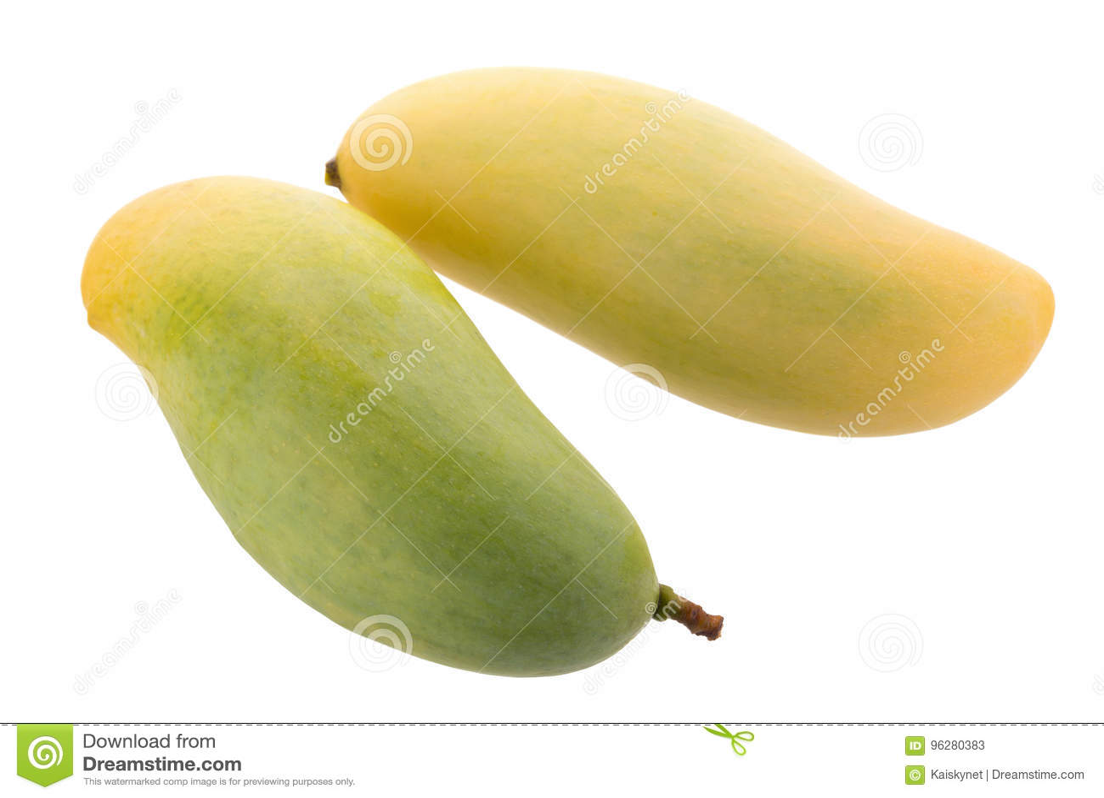 在白色背景隔绝的束甜黄色芒果果子