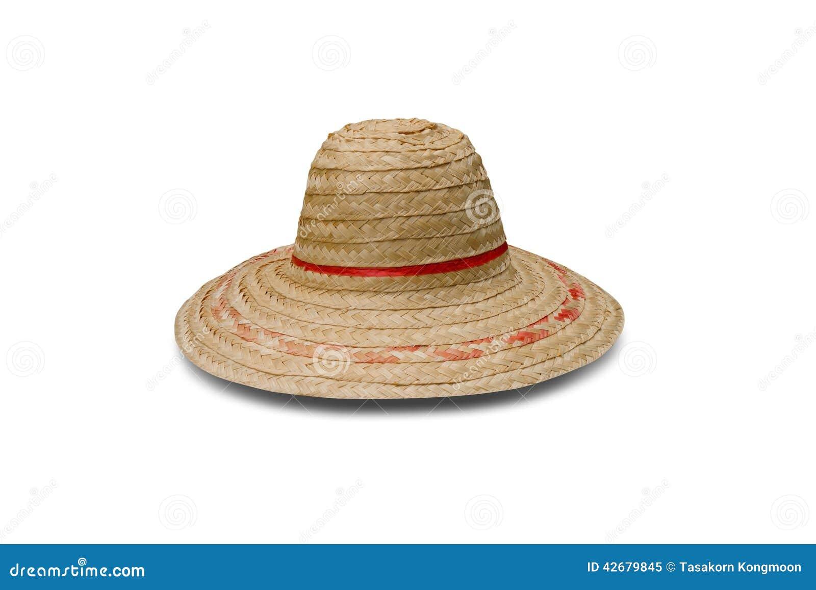 农夫帽子_它是在白色背景隔绝的竹农夫帽子.