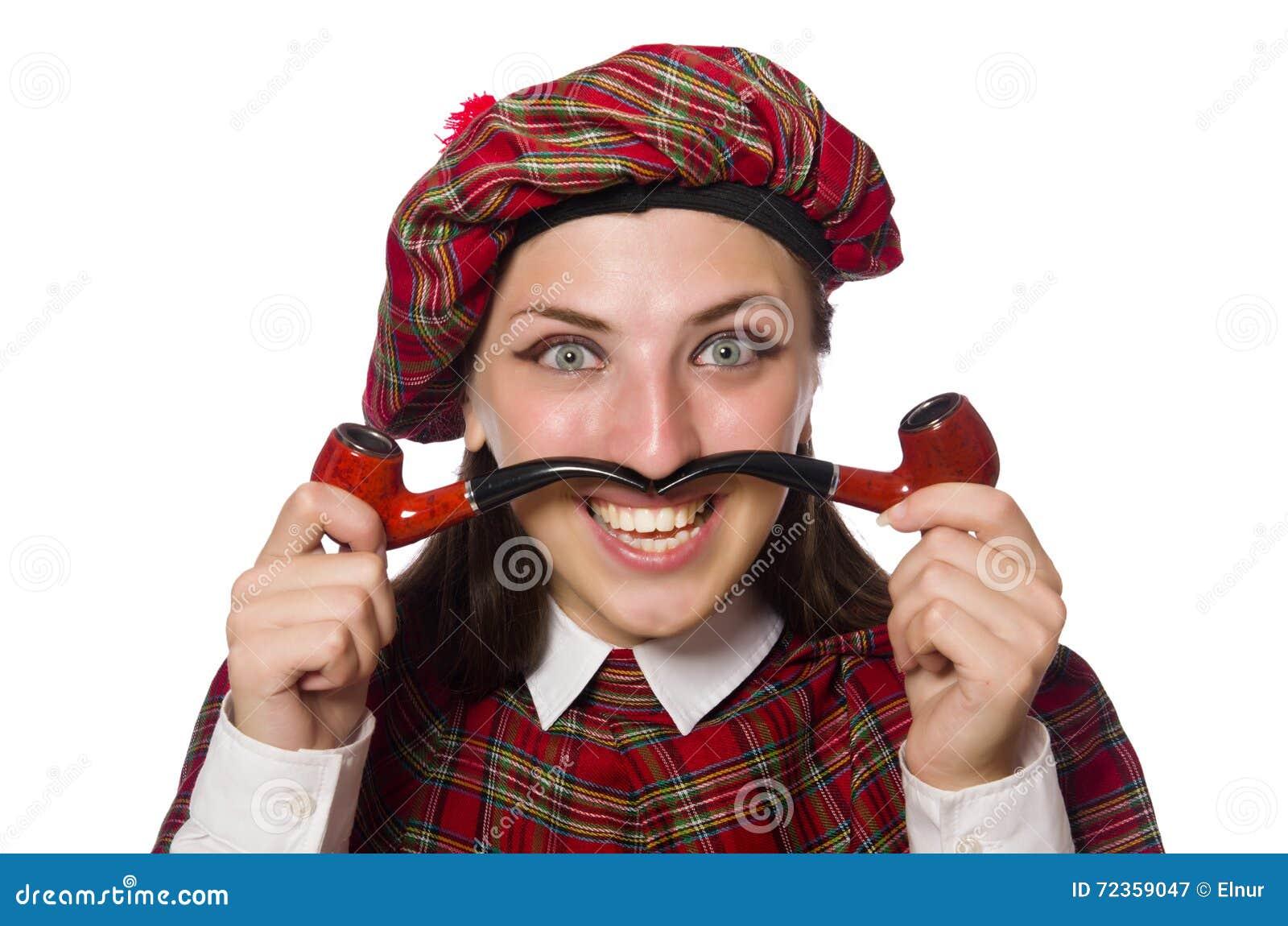 在白色背景隔绝的苏格兰妇女