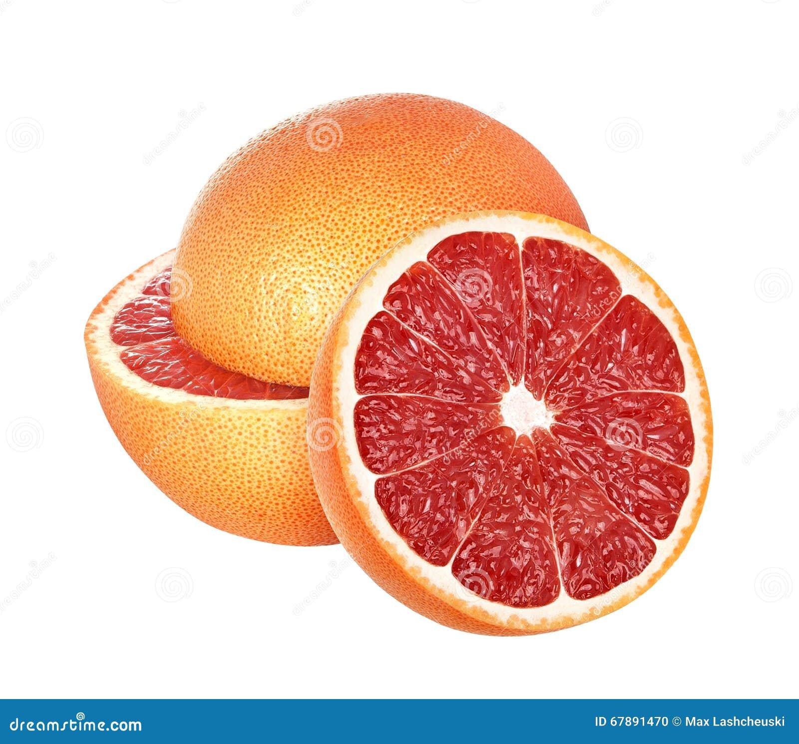 在白色背景隔绝的葡萄柚,与裁减路线