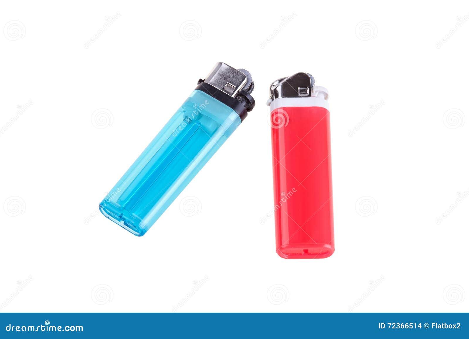 在白色背景隔绝的蓝色和红色打火机