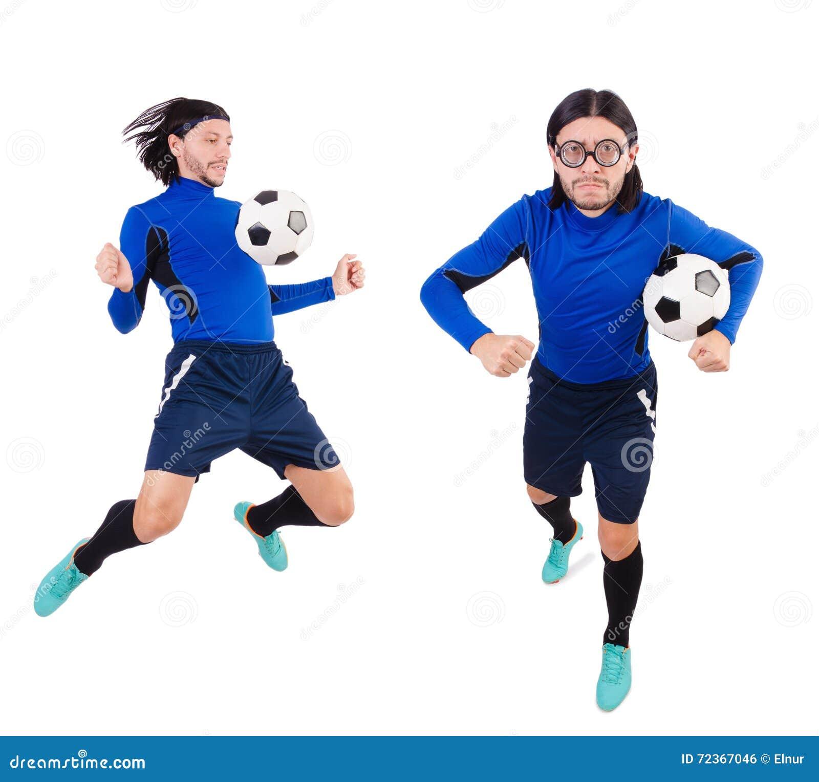 在白色背景隔绝的足球运动员