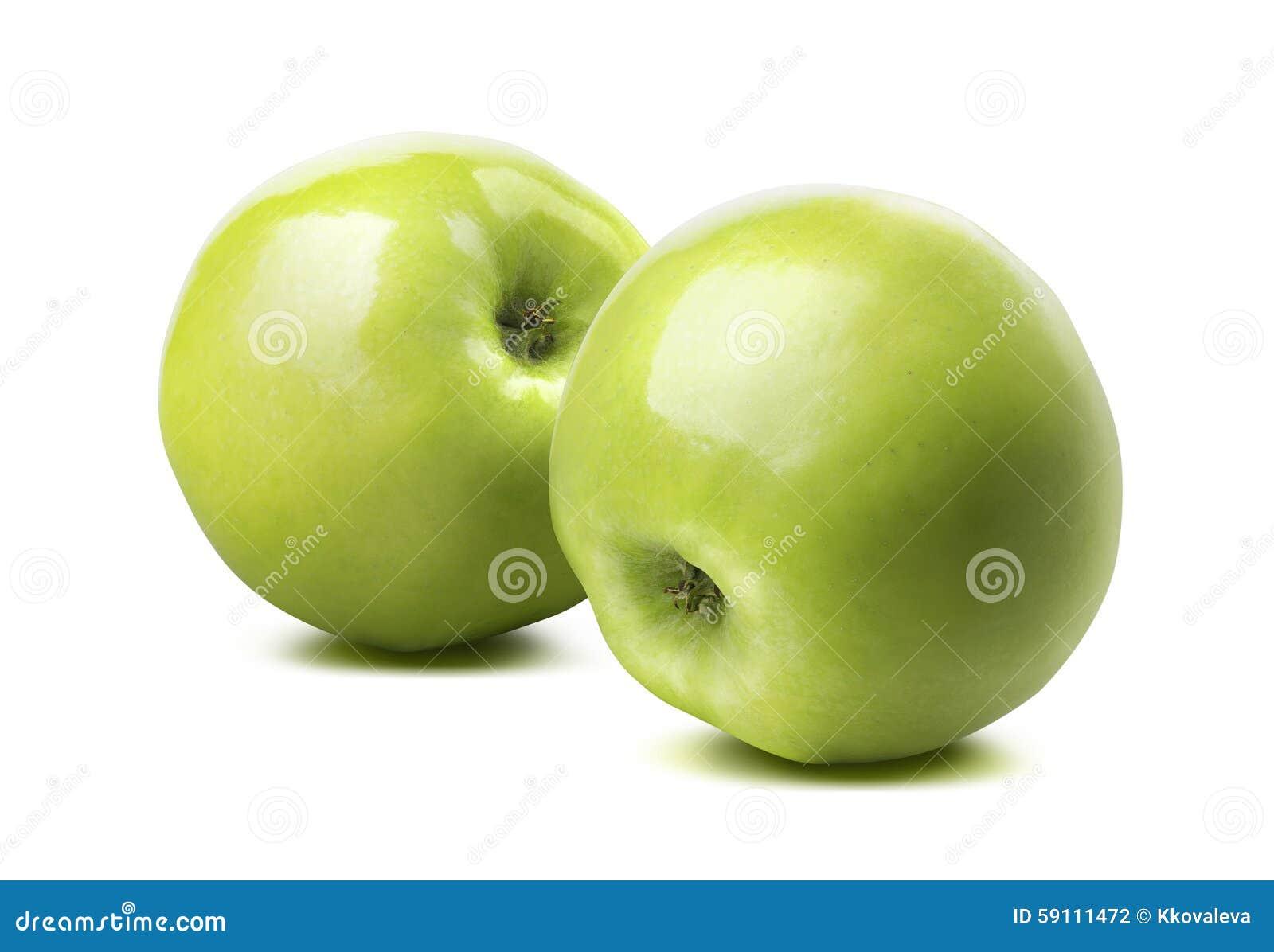 在白色背景隔绝的2个整个光滑的绿色苹果