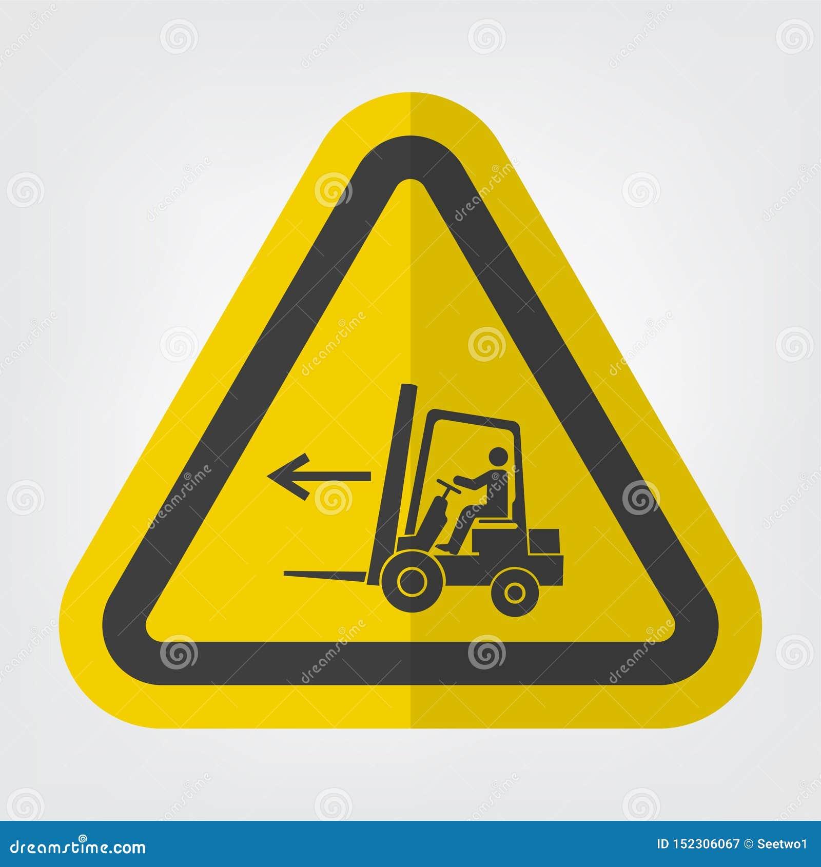 在白色背景,传染媒介例证EPS的铲车点左标志标志孤立 10