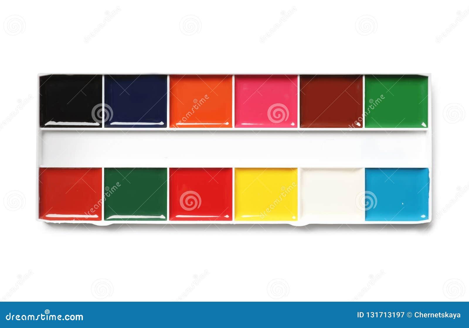 在白色背景,顶视图的塑料水彩调色板