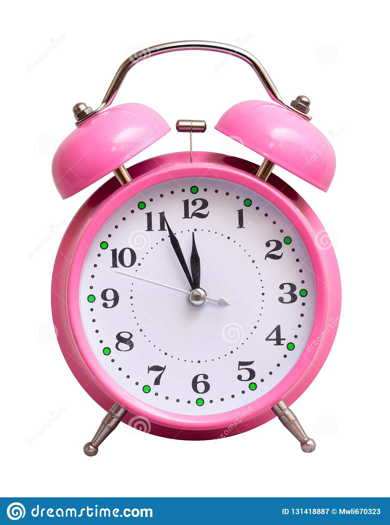 在白色被隔绝的背景的桃红色时钟,显示近似12个小时 日历看板卡以后的新的编号担任主角年