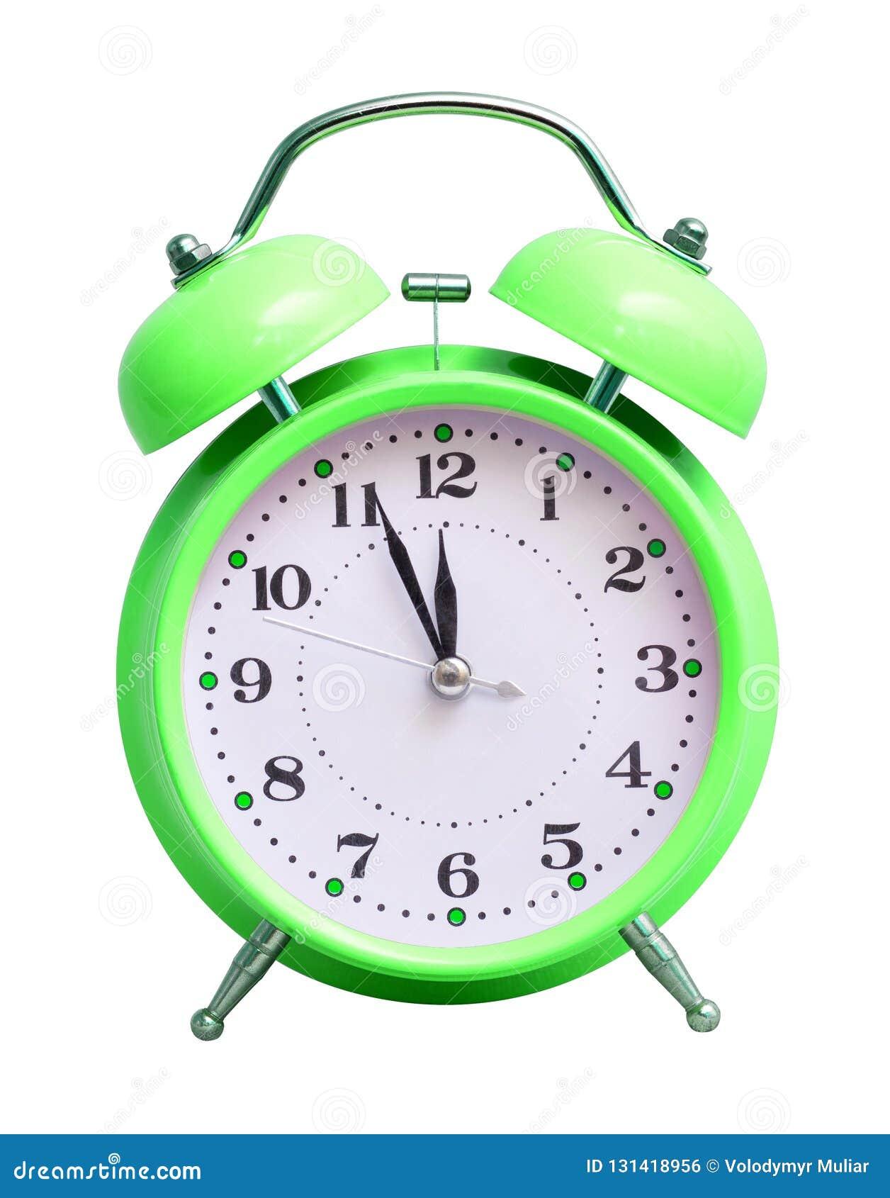 在白色被隔绝的背景的绿色时钟,显示近似12个小时 日历看板卡以后的新的编号担任主角年