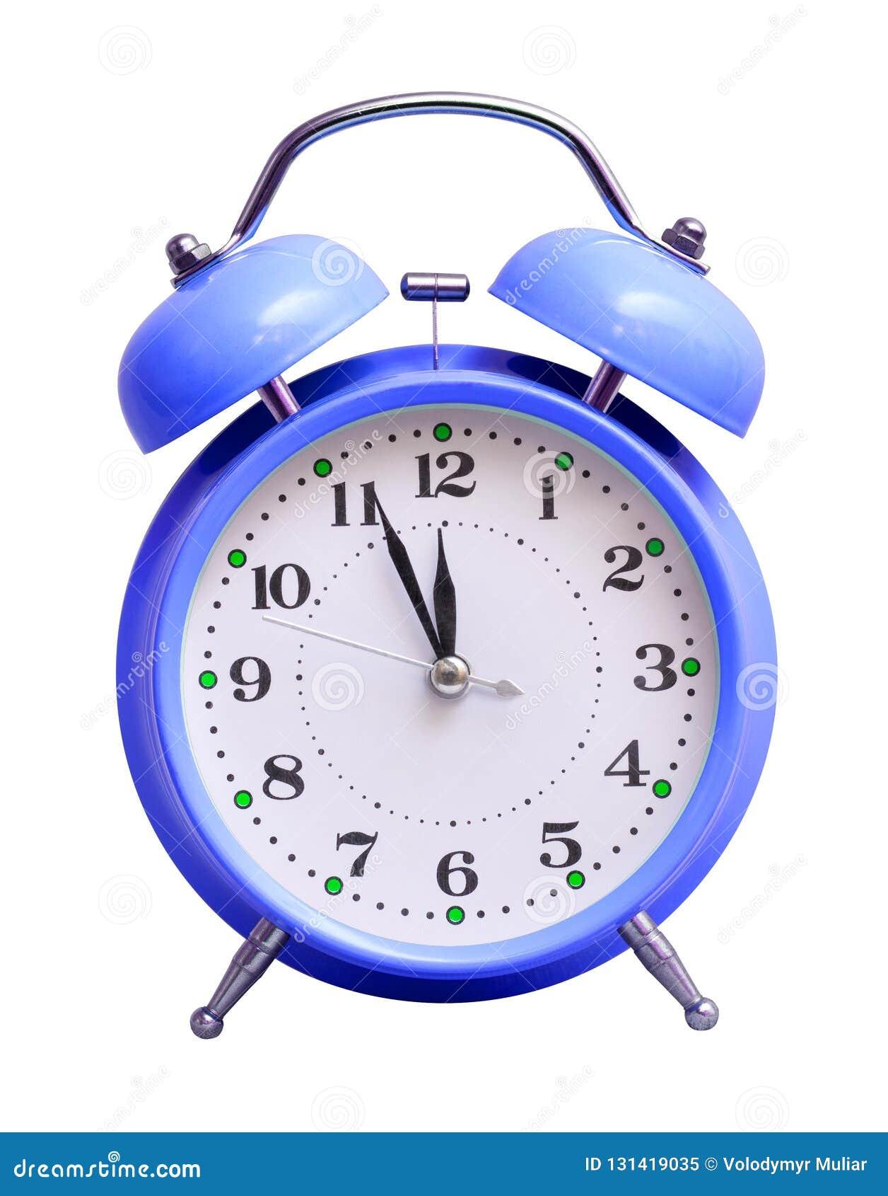 在白色被隔绝的背景的蓝色时钟,显示近似12个小时 日历看板卡以后的新的编号担任主角年