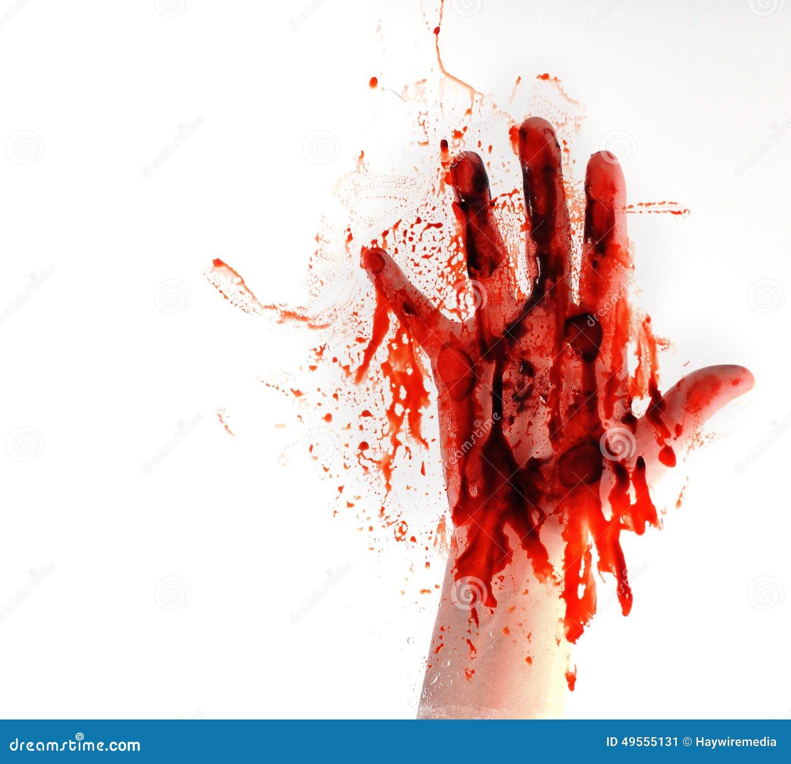 在白色被隔绝的背景的血液手 库存照片 - 图片图片