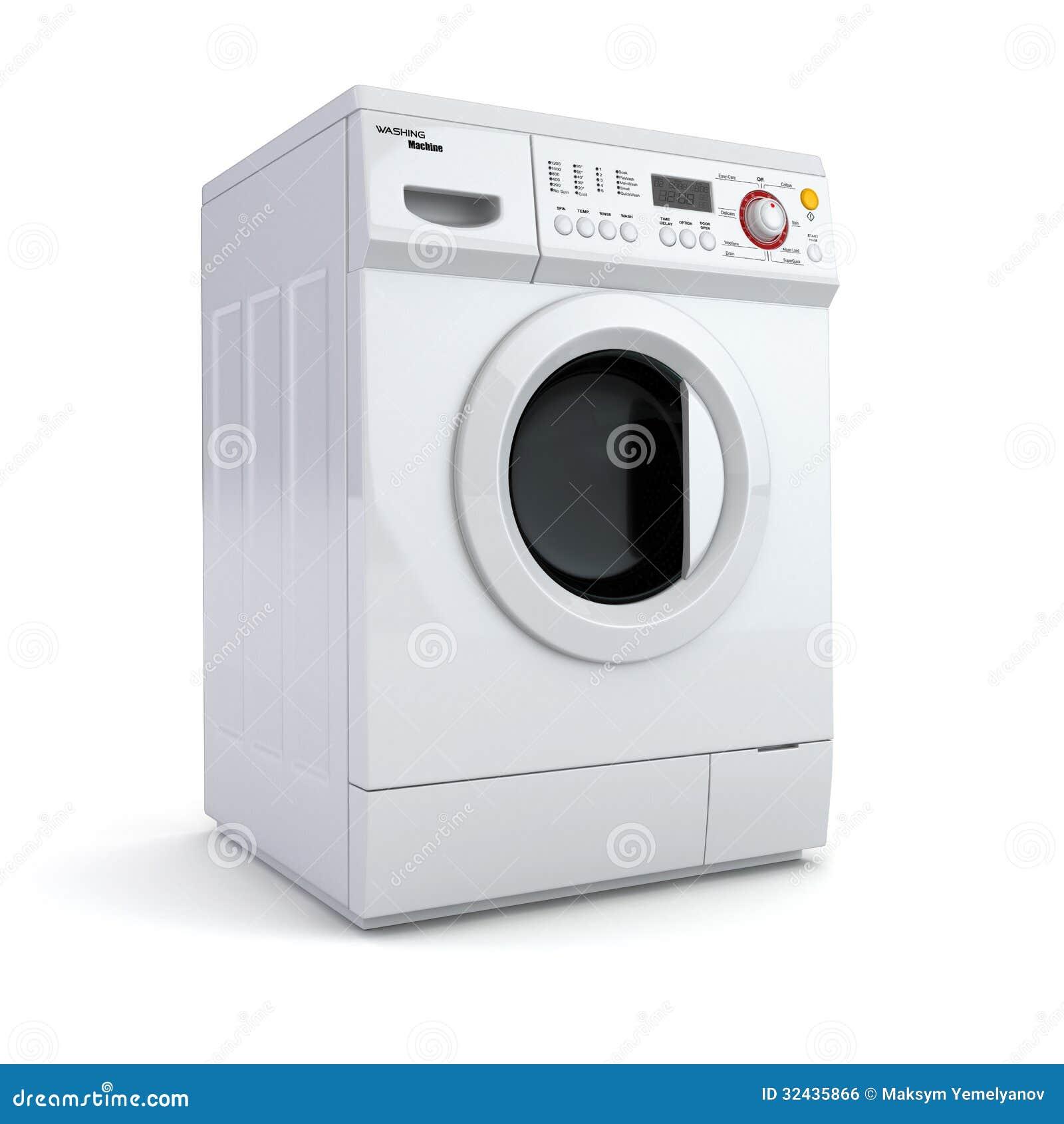 在白色被隔绝的背景的洗衣机。