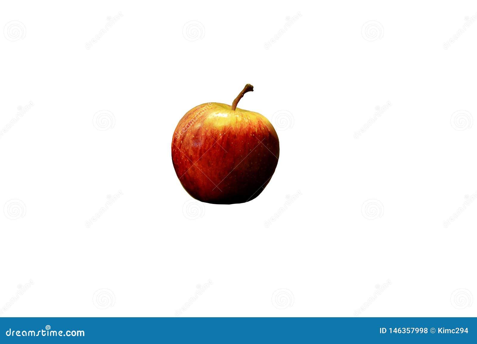 在白色隔绝的一个唯一红色苹果