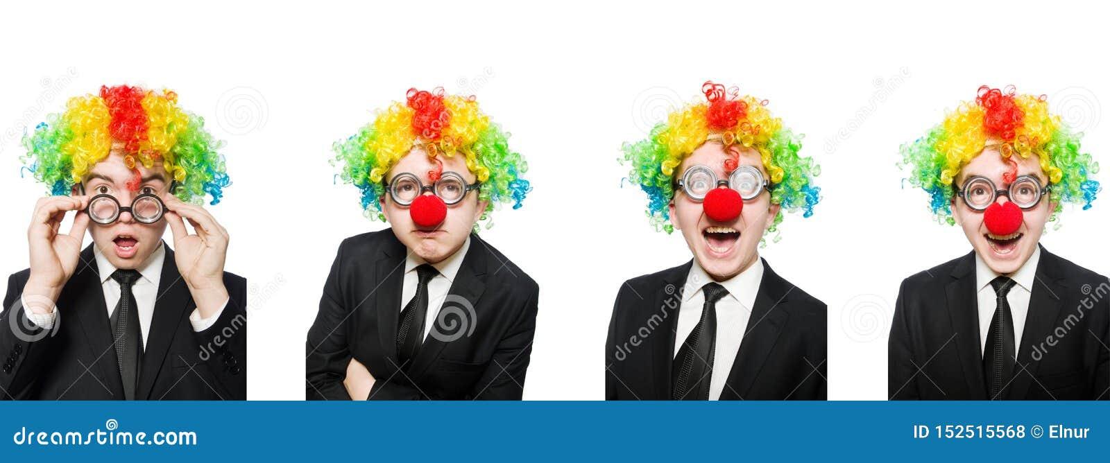 在白色隔绝的小丑商人
