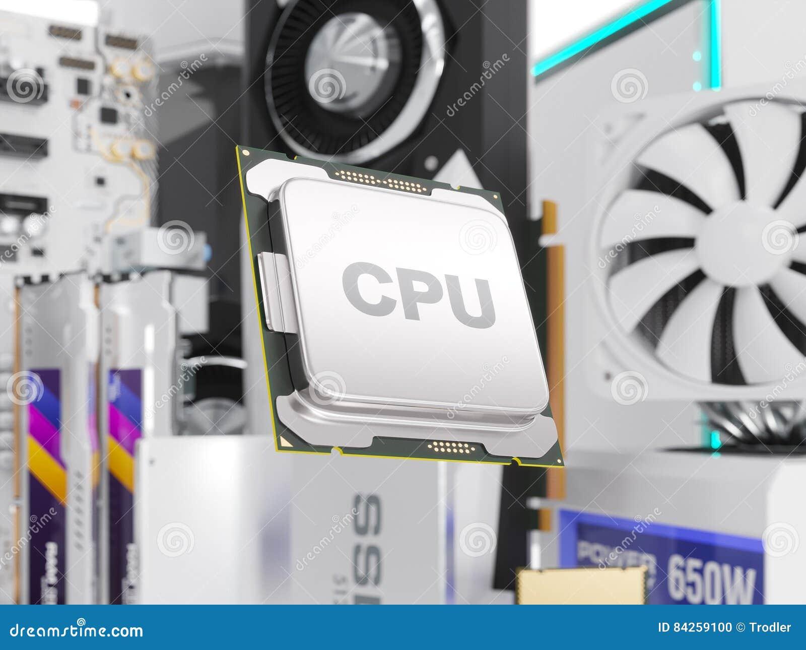 在白色隔绝的个人计算机硬件组分 3d翻译