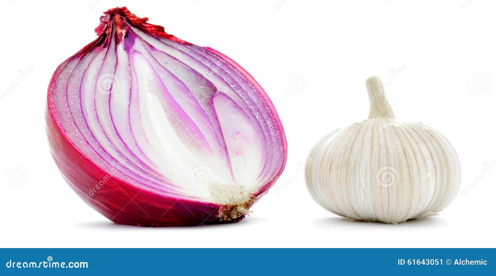 在白色隔绝的大蒜和红洋葱半特写镜头宏指令