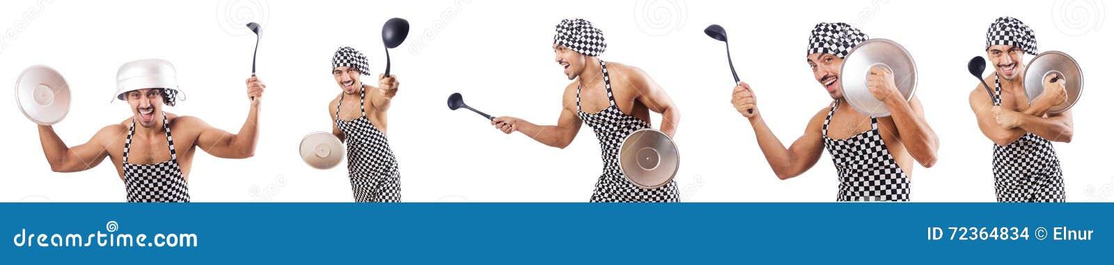 在白色隔绝的性感的男性厨师