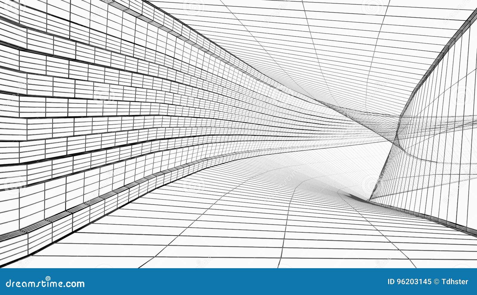 在白色隔绝的抽象建筑学wireframe结构3D例证