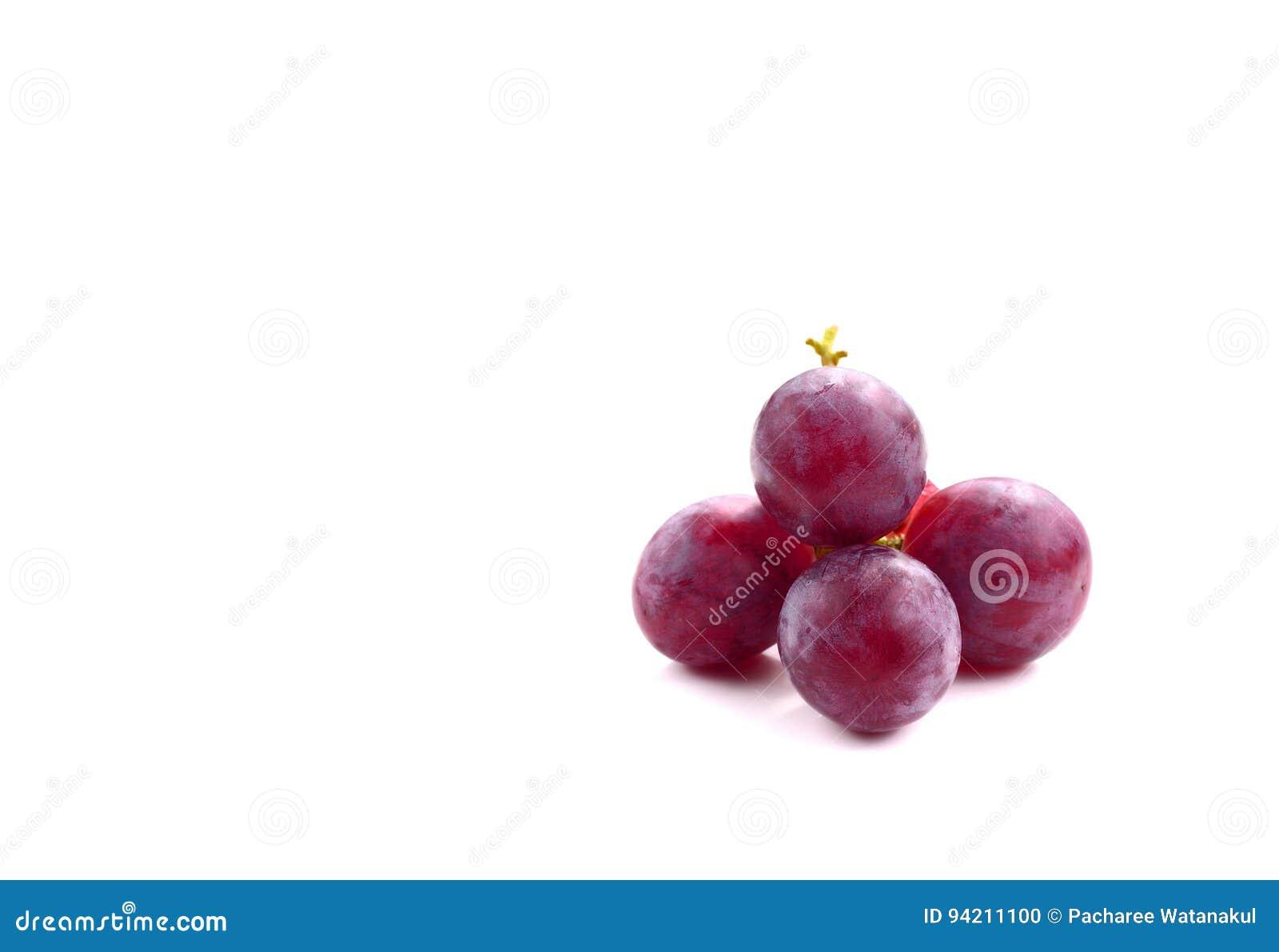在白色隔绝的甜红葡萄果子,包括的裁减路线