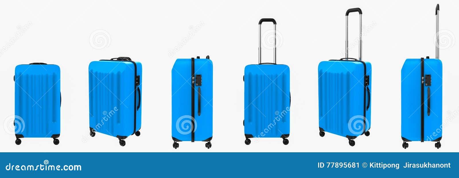 在白色隔绝的蓝色坚硬案件行李