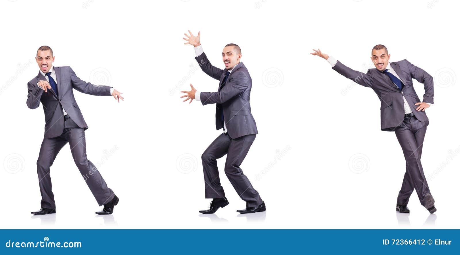 在白色隔绝的跳舞商人