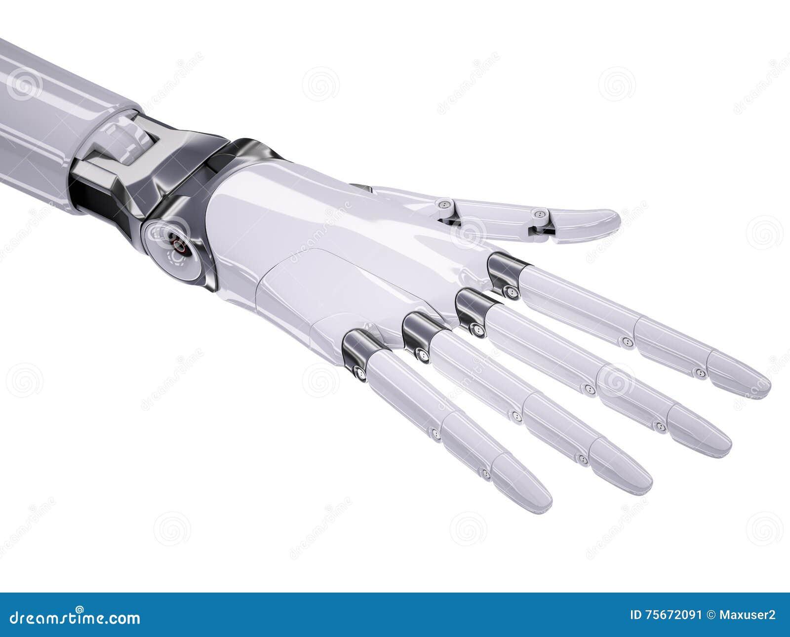在白色隔绝的靠机械装置维持生命的人人同样的手3d例证