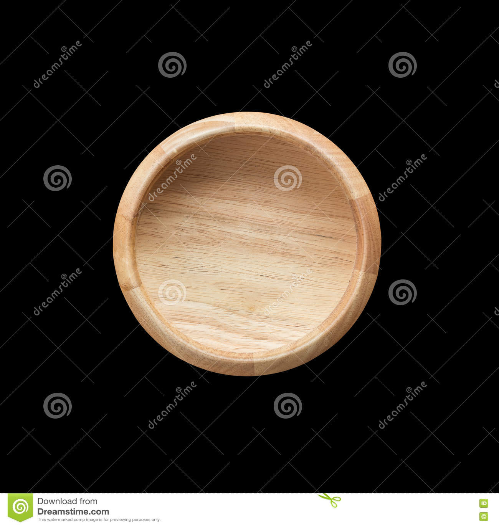 在白色隔绝的顶视图明亮的空的木碗 保存与