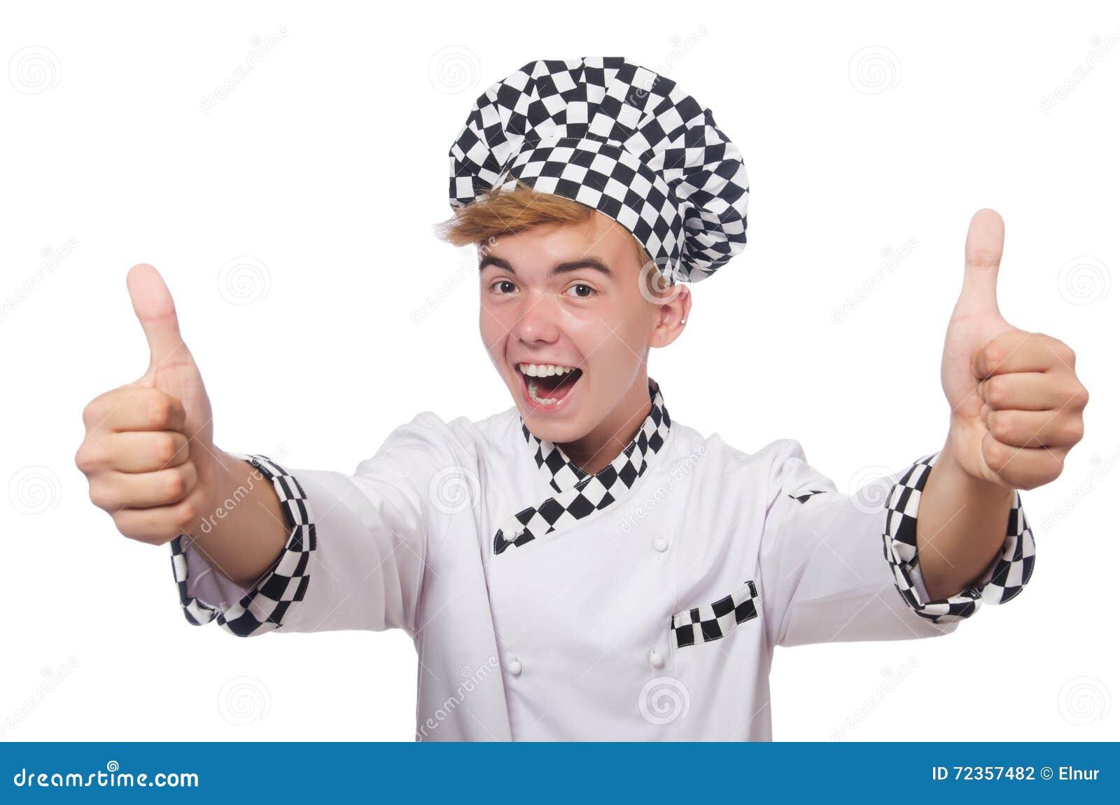 在白色隔绝的滑稽的厨师
