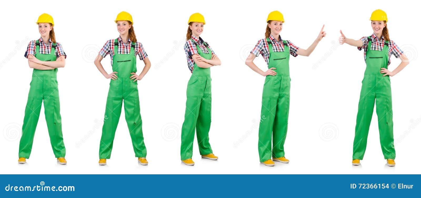 在白色隔绝的绿色工作服的妇女