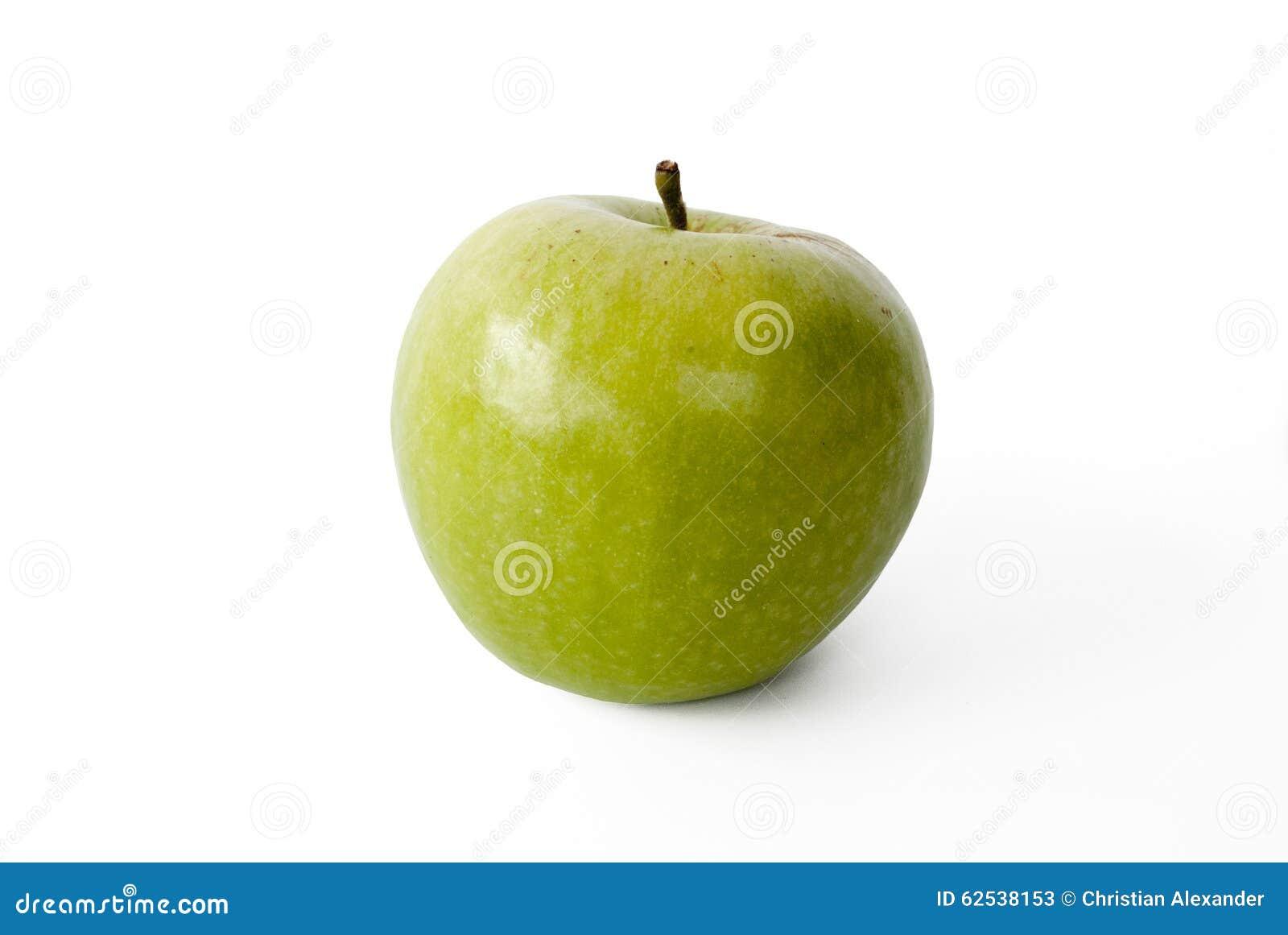 在白色隔绝的绿色苹果