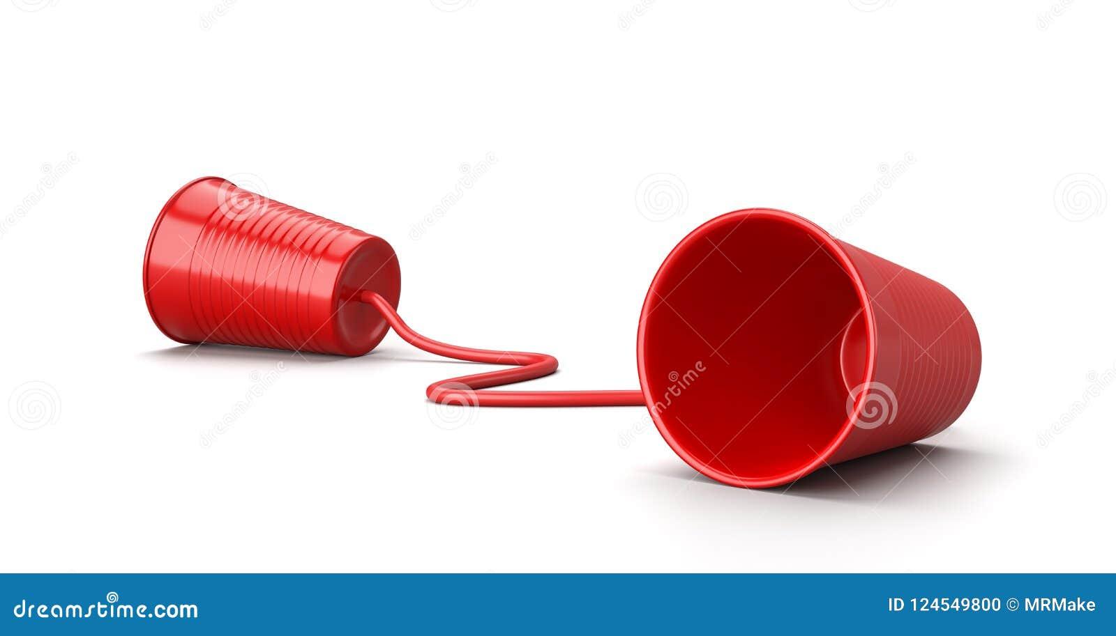 在白色,通信概念的红色塑料杯电话