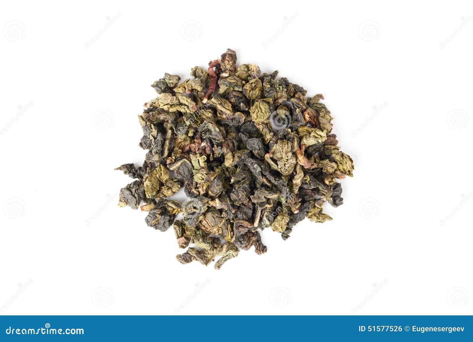 在白色,顶视图隔绝的中国绿色oolong茶