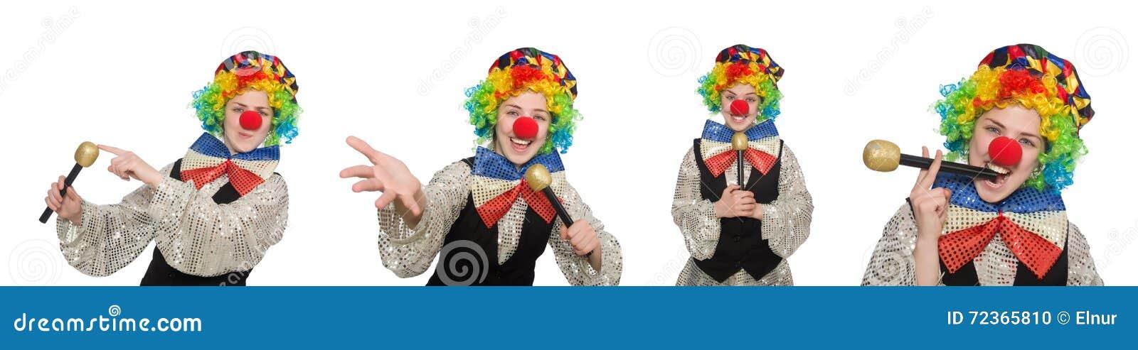 在白色以各种各样的姿势隔绝的小丑