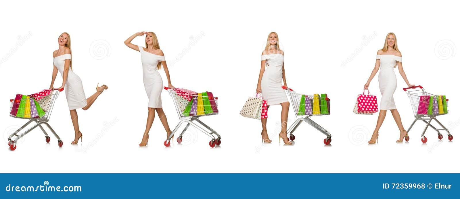 在白色购物概念的妇女隔绝的