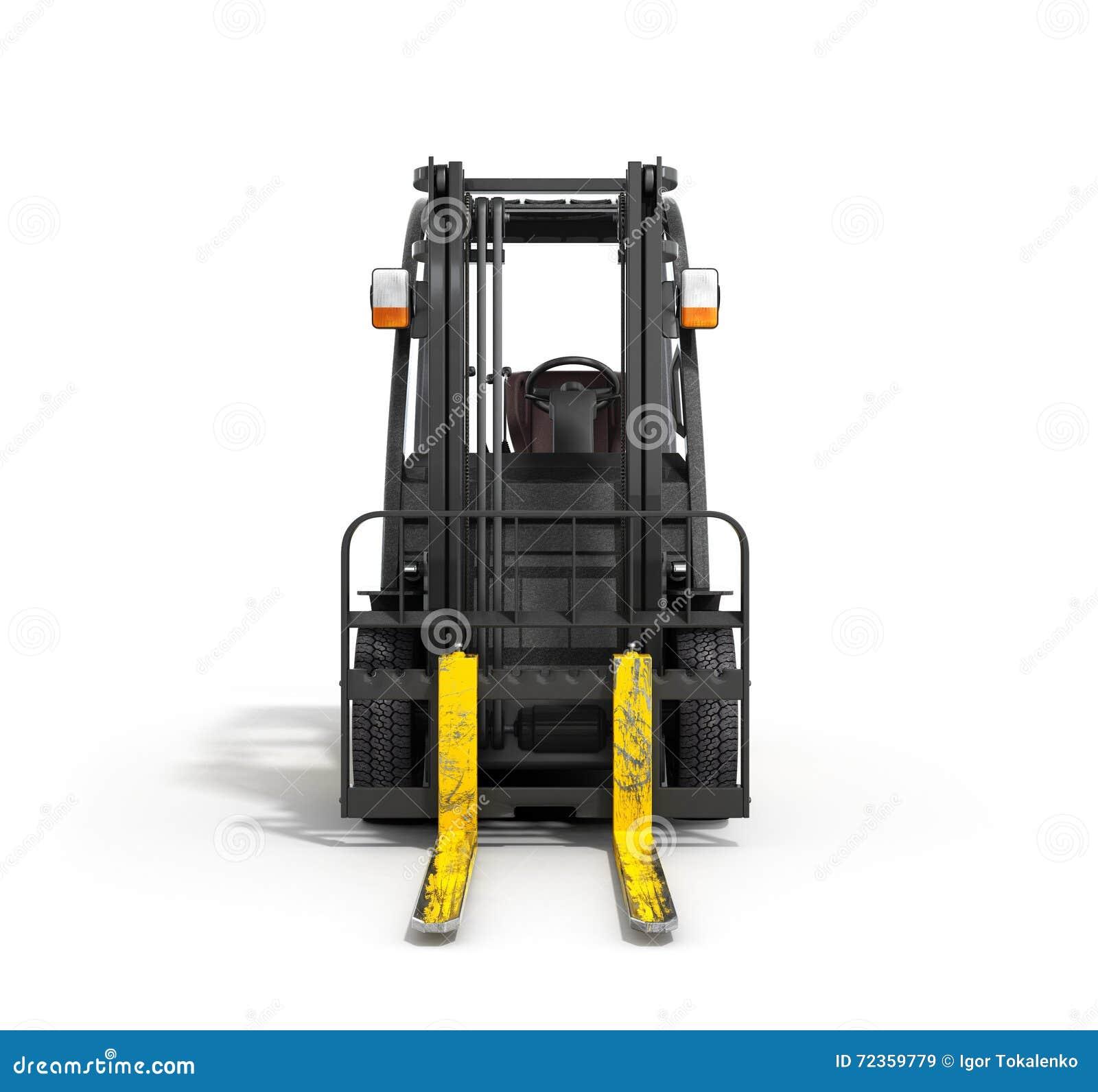 在白色3D例证的铲车装载者