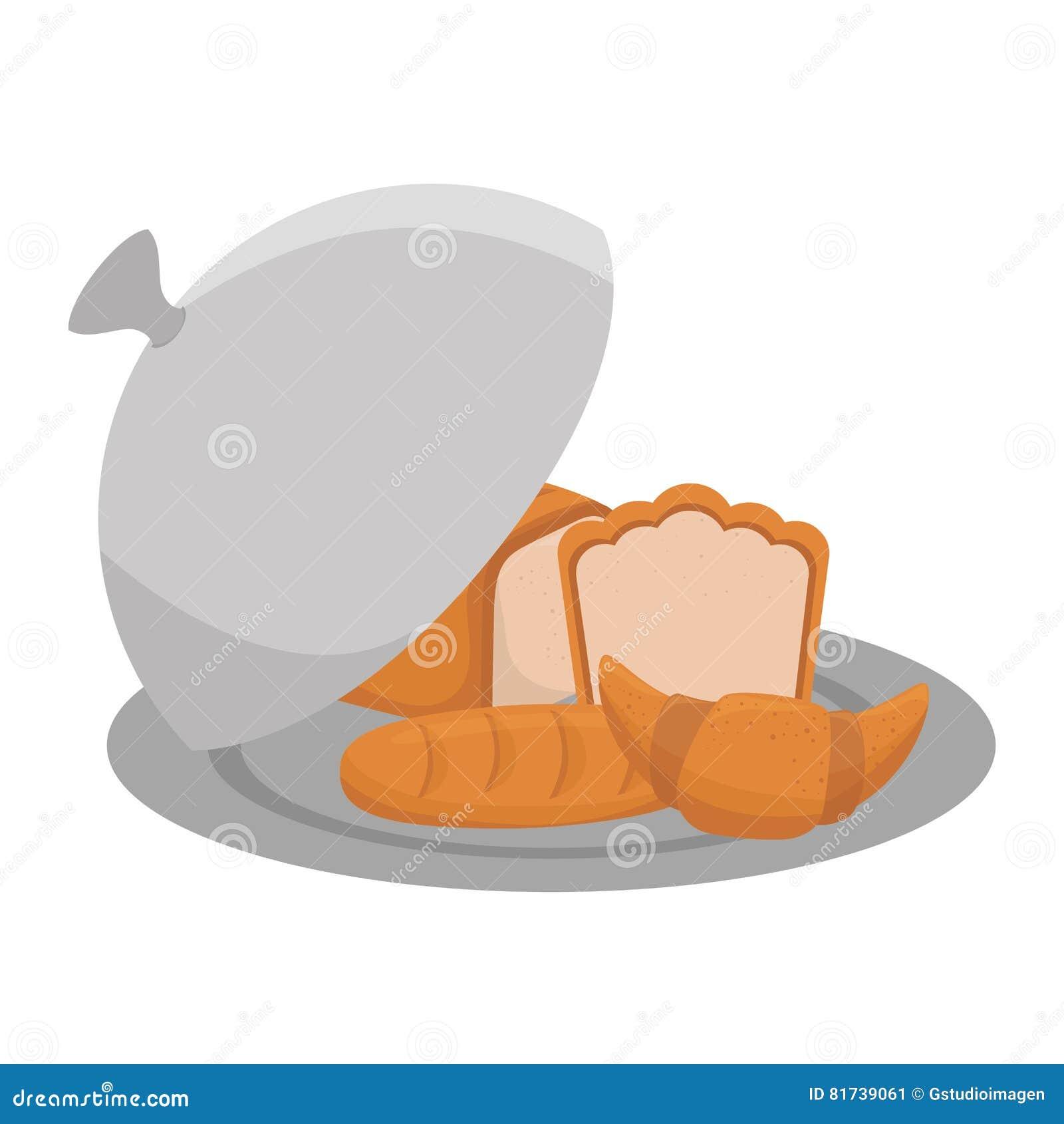 在盘子菜单象的面包