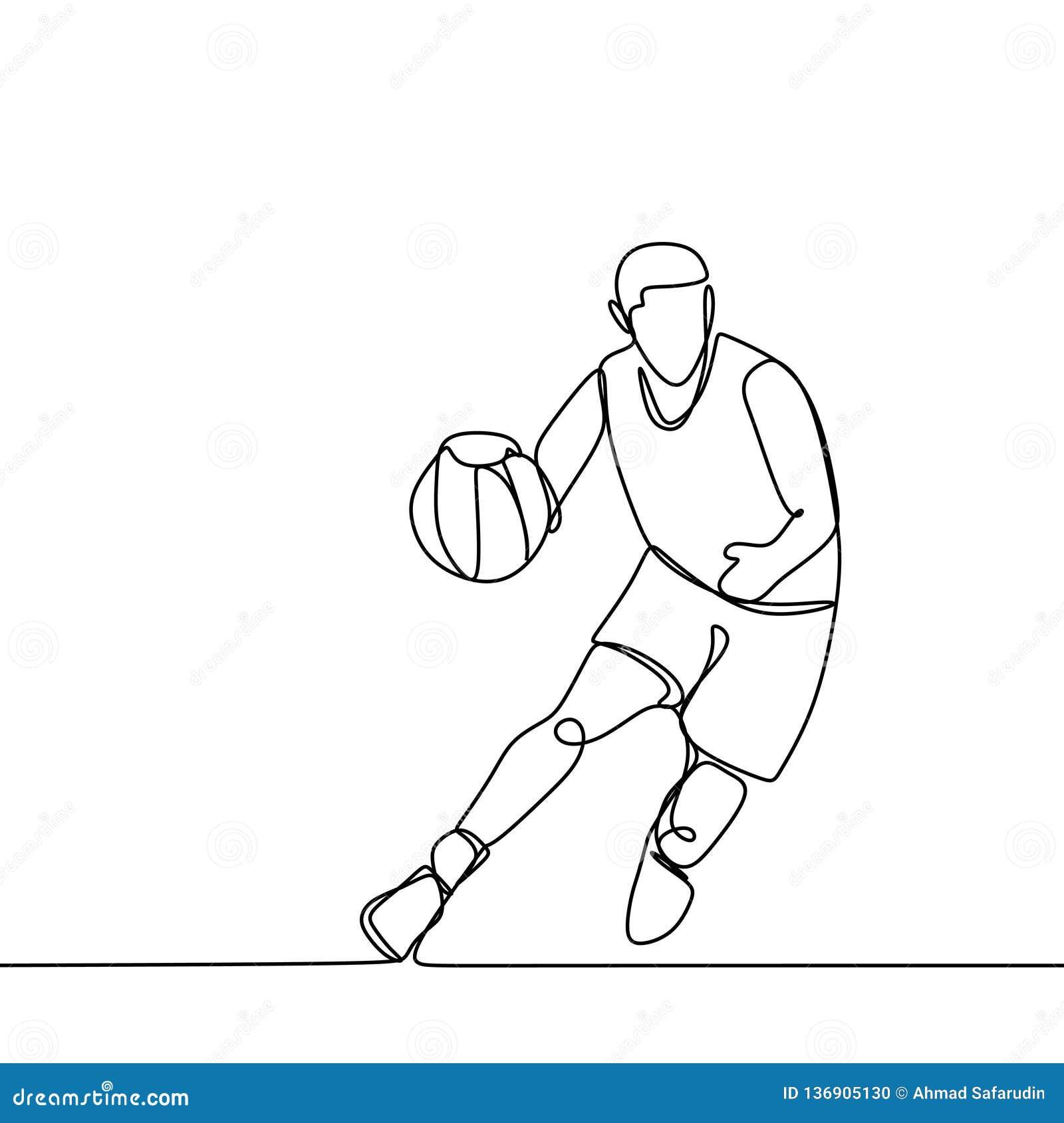 在相配的比赛期间的篮球运动员,滴下球的他 连续的个别线路图画传染媒介例证 Lineart体育题材