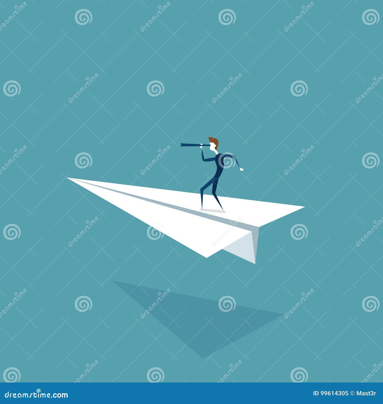 在看通过双眼的纸飞机上的商人飞行在成功的未来发展发展概念