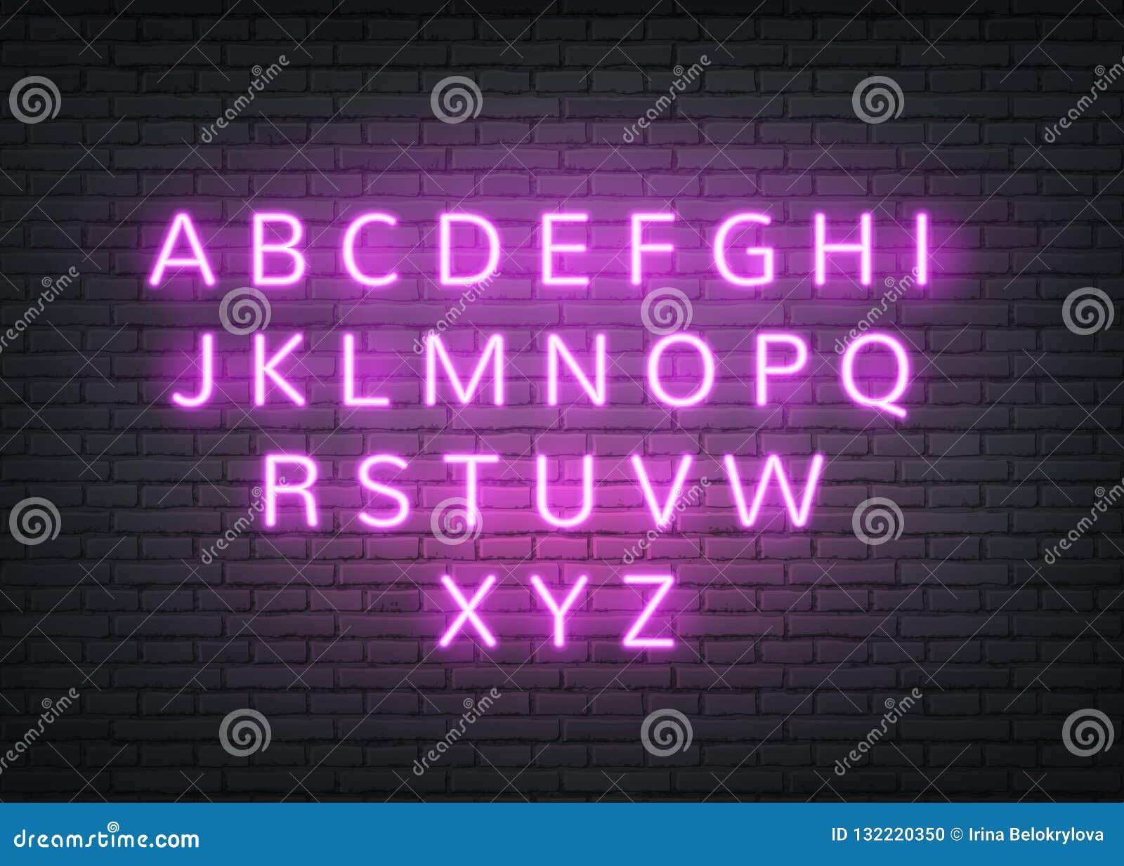 在砖墙上的传染媒介霓虹字母表减速火箭的信件