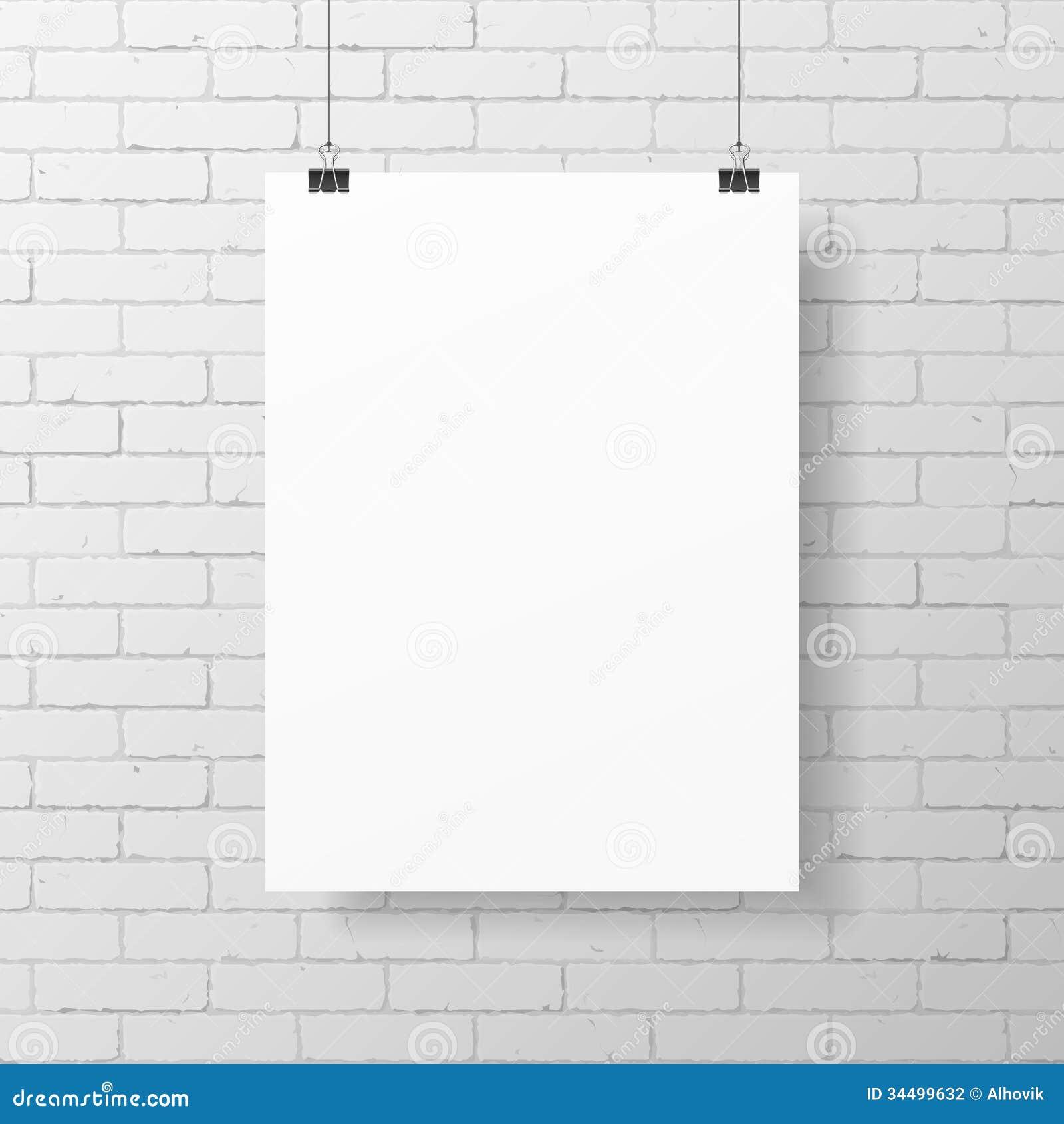 在砖墙上的空白的白色海报