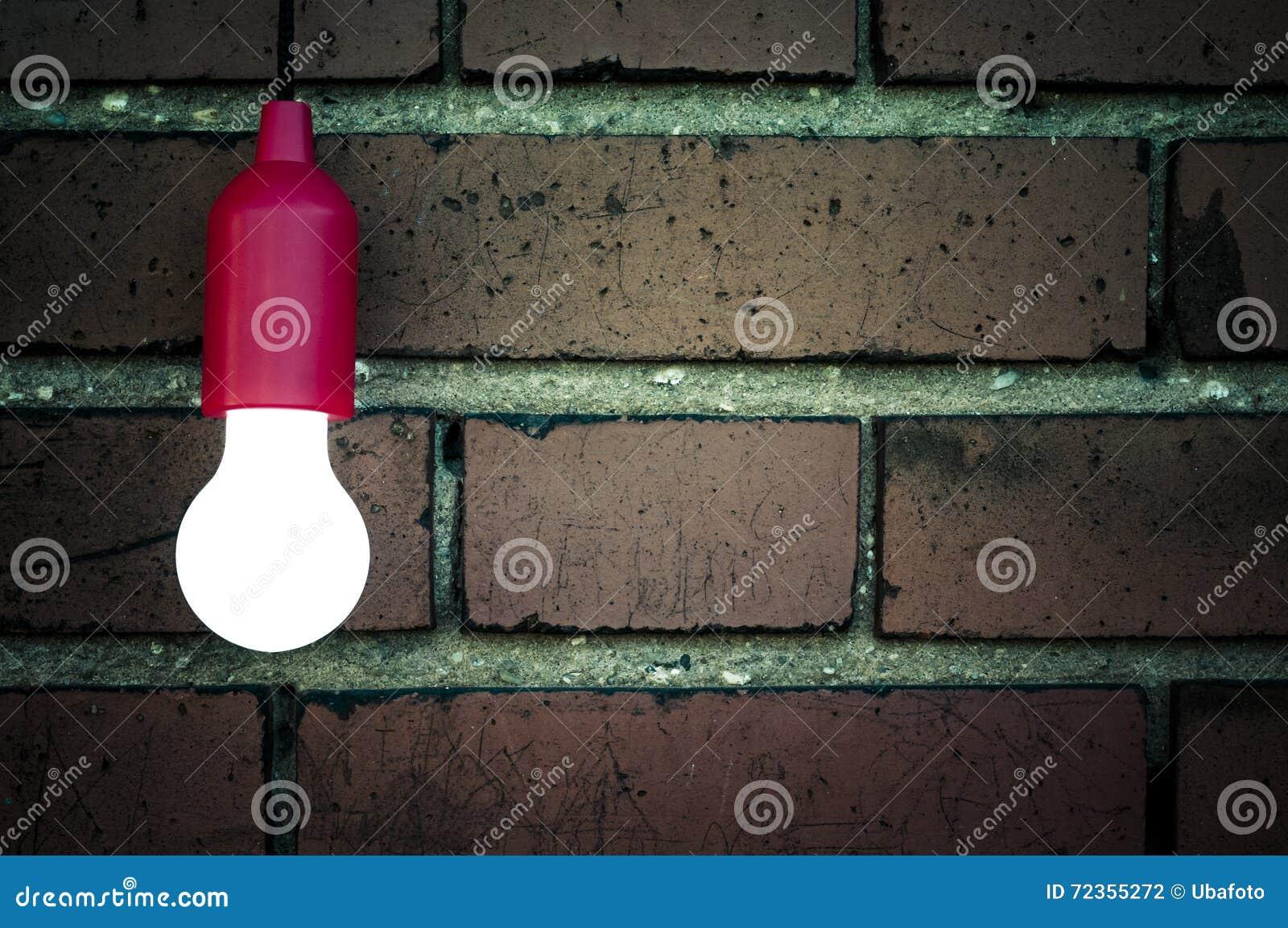在砖墙前面的电灯泡