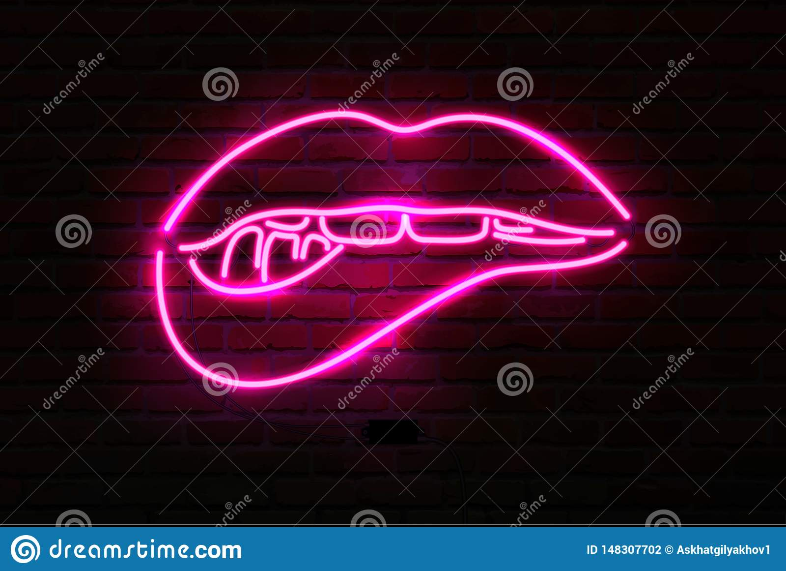 在砖墙,传染媒介上的桃红色霓虹光亮嘴唇